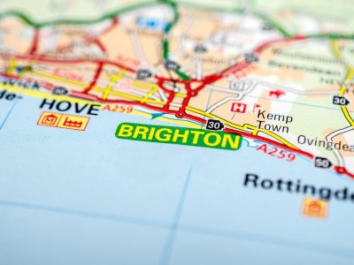 Brighton in southern England on a road map